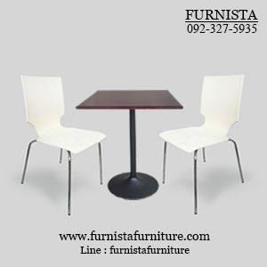 ชุดโต๊ะอาหารขาแชมเปญพร้อมเก้าอี้ดีไซน์สวย 2 ที่นั่ง สำหรับร้านอาหาร ร้านกาแฟ