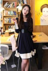 เดรส แฟชั่นเกาหลี น่ารักที่สุด ผ้าคอตตอนยืด สีน้ำเงิน ขาว