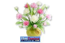 ดอกกุหลาบ9ดอกทำจากผ้าใยบัว