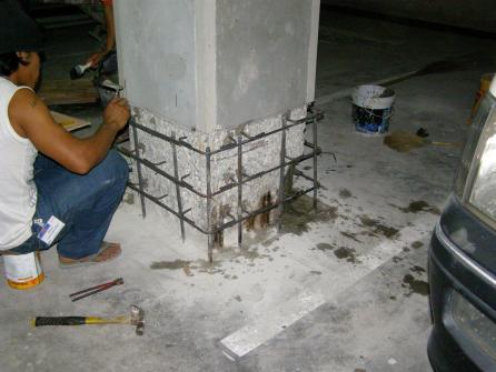 งานซ่อมเสาคอนกรีตชั้นที่จอดรถใต้ดิน