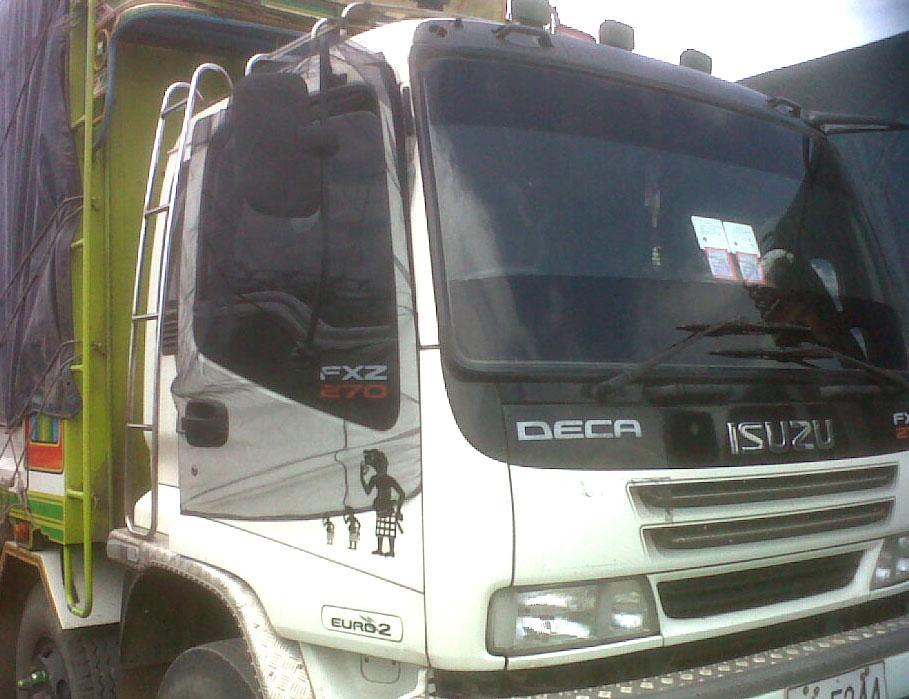 ผ้ามุ้งรถบรรทุก 10ล้อ ISUZU DECA ที่มีกระจก ติดประตูขวา ข้างซ้ายไม่มี