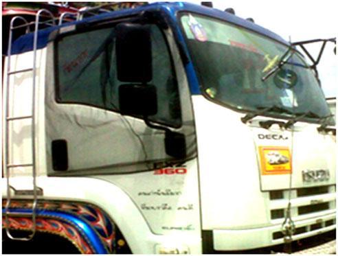 ผ้ามุ้งรถบรรทุก 10ล้อ ISUZU DECA ที่มีกระจก ติดประตูทั้ง สอง ข้าง