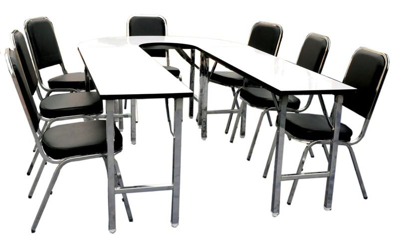 โต๊ะประชุมทรงไข่ พับได้ 12 ที่นั่ง พร้อมเก้าอี้