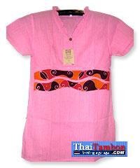 เสื้อผ้าฝ้ายบาติกสตรี แขนสั้นสีชมพู