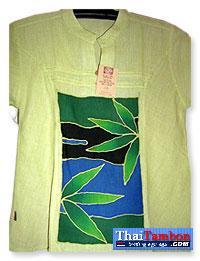 เสื้อผ้าฝ้ายบาติกสตรี แขนสั้นสีเขียว