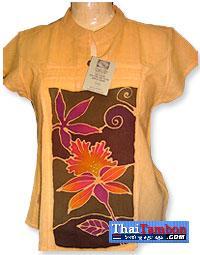 เสื้อผ้าฝ้ายบาติกสตรี แขนสั้นสีส้ม