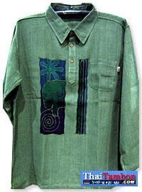 เสื้อผ้าฝ้ายบาติกบุรุษแขนยาว สีเขียว